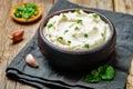 Ricotta roasted garlic mashed cauliflower Royalty Free Stock Photo