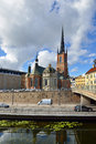 Riddarholm church is burial church of swedish monarchs Stock Photos