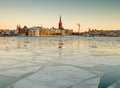 Riddarholmen stockholm winter image and floating ice on riddarfjarden in Royalty Free Stock Image