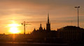 Riddarholmen sunset view of in stockholm sweden Royalty Free Stock Photo