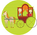 Ride in a carriage two children drawn by horse that is apples Royalty Free Stock Photo