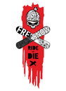 Ride or die a vector illustration with a skull in a cap and a snowboard mask with two crossed snowboards Stock Image