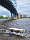 Ride the ducks amphibious tourist vehicle in river philadelphia pa usa july sightseeing transportation sailing again after earlier Stock Photography