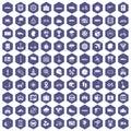 100 ride icons hexagon purple
