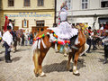 Young man on horse, Cultural Festival in Prague Royalty Free Stock Photo