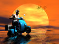 Ride into the sun. Royalty Free Stock Image