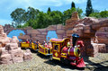 Rideable miniature railway train in movie world gold coast austr aus nov visitors on queensland australia the park opened Royalty Free Stock Photo