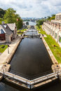 Rideau canal or waterway at the ottawa river end ontario canada registered as a unesco world heritage site in Royalty Free Stock Image