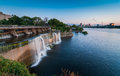 Rideau falls as summer evening approaches lower water levels in spring and provide for a gentle water fall in the city of ottawa Stock Photos