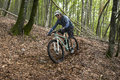 Rider in action at freestyle mountain bike session Royalty Free Stock Image
