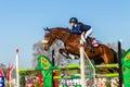 Rider girl horse jumping Royalty-vrije Stock Fotografie