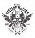 Rider skull print with retro racer attributes grunge vintage style vector art Stock Photos