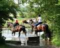 Riders Crossing a River Royalty Free Stock Photography