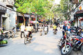 Riders ride motorbikes on busy road hanoi vietnam october unidentified october in vietnam motorbike is the most favorite Stock Photography