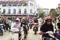 Riders ride motorbikes on busy road hanoi vietnam october unidentified october in vietnam motorbike is the most favorite Stock Photos