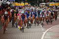 Riders at the start-finish line. Royalty Free Stock Photo