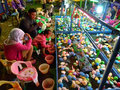 Rides fishing children play on the in a fun fair in the city of solo central java indonesia Stock Image