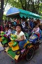 Rides the kids enjoyed the in the city of solo central java indonesia Royalty Free Stock Image