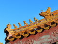 Ridge beast on china ancient buildings in the imperial palace Stock Photo