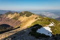 Ridge of slovak Little Fatra hills and Zilina city Royalty Free Stock Photo