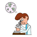 Ridiculous caricature the biologist looks in a microscope.