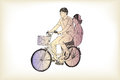 Riding bicycle boy an girl free hand drawing, vector and illustr