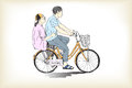 Riding bicycle boy an girl free hand drawing
