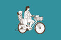 Riding bicycle mom and boy, free hand drawing, vector and illust