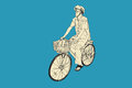 Riding bicycle to market, free hand drawing, vector and illustra
