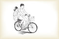 Riding bicycle touring boy an girl, free hand drawing