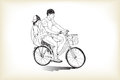 Riding bicycle touring boy an girl, free hand drawing, vector an