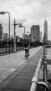 Riding bike towards One World Trade Center Freedom Royalty Free Stock Photo