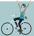 Riding a bike young hipster girl bicycle and flashing peace signs vector illustration Royalty Free Stock Image