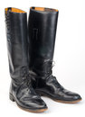 Riding boots black isolated on white Royalty Free Stock Photo