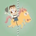 Riding on carousel horse Royalty Free Stock Photo