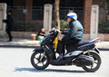 Riding motorbike on street Royalty Free Stock Photos