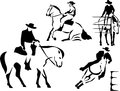 Riding stylized western black illustration Royalty Free Stock Photography