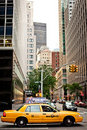 Riding yellow taxi cab in New York Royalty Free Stock Photography
