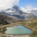 Riffelsee with the matterhorn in the background in zermatt swiss alps Royalty Free Stock Photo