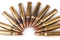 Rifle Bullets on White Royalty Free Stock Photo