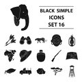 Rifle, mask, map of the territory, diamonds and other equipment. African safari set collection icons in black style Royalty Free Stock Photo