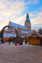 Riga christmas market in the heart of old town latvia december situated s large square next to dome cathedral Royalty Free Stock Photos