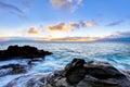 Riga del litorale della scogliera del Maui dell'isola con l'oceano. L'Hawai. Immagine Stock Libera da Diritti