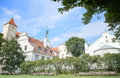 Riga latvia august the picturesque view of the riga castle the residence of president of latvia with virgin of angu anguish church Stock Photos