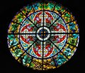 Antique rosette stained glass window in the Riga Dome Cathedral in Riga, Latvia
