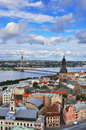 Riga latvia panorama of the capital of Royalty Free Stock Photography