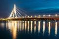 Riga Latvia. Scenic View Of Vansu Cable-Stayed Bridge In Night Illumination Over The Daugava River, Royalty Free Stock Photo