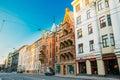 Riga, Latvia. Shops And Cafe On Elizabetes Street In Sunny Summer