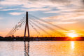Riga, Latvia. Vansu Cable-Stayed Bridge Over The Daugava River, Royalty Free Stock Photo