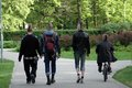 Riga some punks walking in the park in latvia Stock Photography